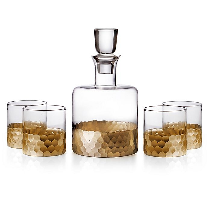 Alternate image 1 for Fitz and Floyd® Daphne 5-Piece Small Whiskey Decanter Set in Gold