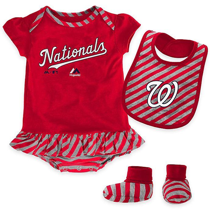 Alternate image 1 for MLB Washington Nationals Newborn 3-Piece Girl Creeper Bib and Bootie Set