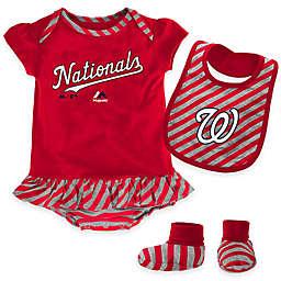 MLB Washington Nationals Newborn 3-Piece Girl Creeper Bib and Bootie Set