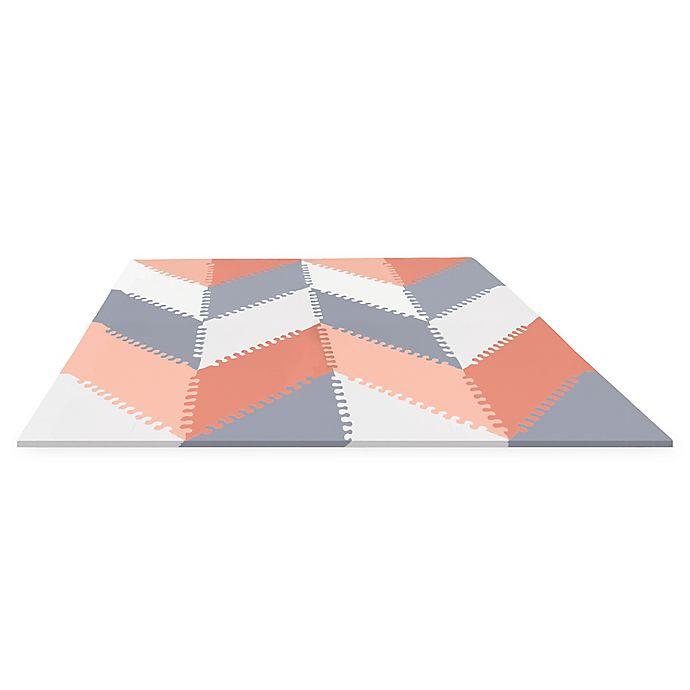 Alternate image 1 for SKIP*HOP® Playspot Chevron Geo Foam Tiles in Peach/Grey