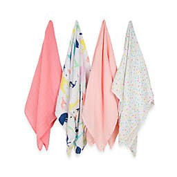 Weegoamigo 4-P Party Animals Muslin Swaddles in Pink Dot