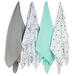 Weegoamigo 4-Pack Six Degrees Muslin Swaddles in Blue/Grey