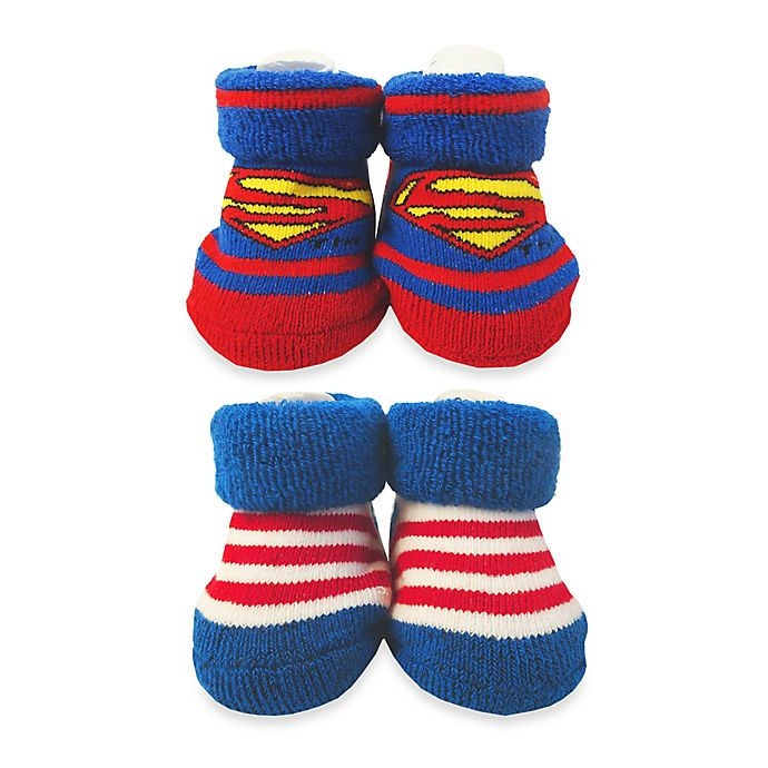Alternate image 1 for DC Comics™ Size 0-6M Superman and Striped Booties in Blue/Red (Set of 2)