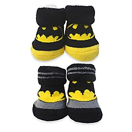 DC Comics™ Size 0-6M Batman Booties in Black/Yellow/Grey (Set of 2)