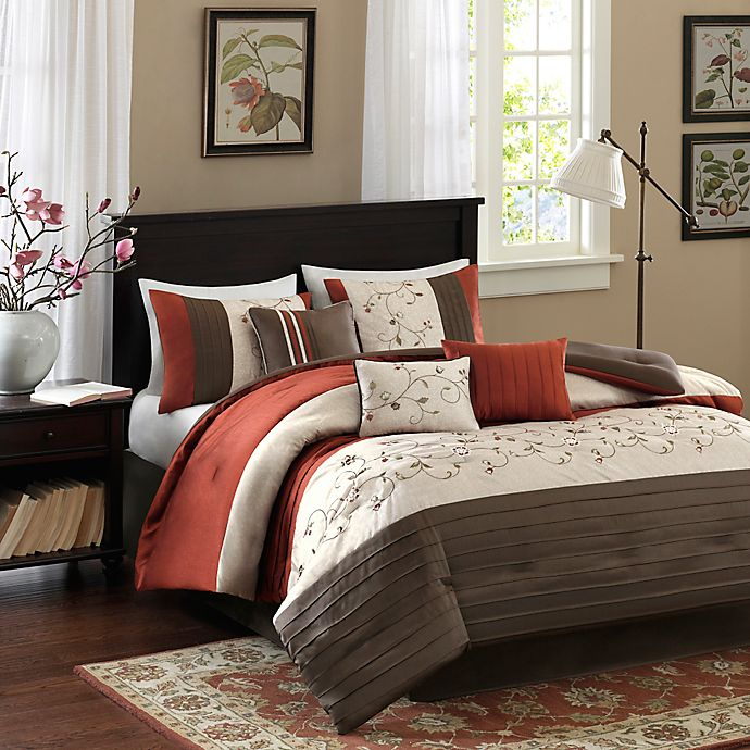 Alternate image 1 for Madison Park Serene 7-Piece King Comforter Set in Spice