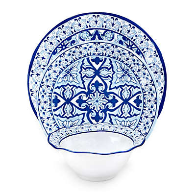Q Squared Talavera Azul 12-Piece  Dinnerware Set in White/Blue