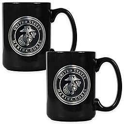 United States Marine Corps Coffee Mugs in Black (Set of 2)