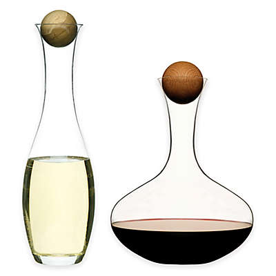 Red Wine and White Wine/Water 2-Piece Decanter Set with Oak Stoppers