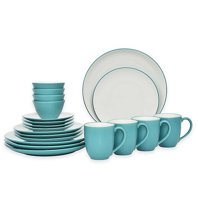 Alternate image 1 for Noritake® Colorwave 20-Piece Coupe Dinnerware Set in Turquoise