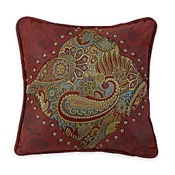 San Angelo Paisley Square Throw Pillow in Red
