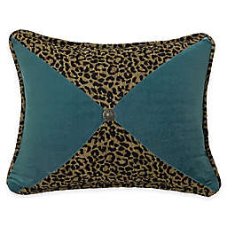 HiEnd Accents San Angelo Leopard and Teal Sectioned Oblong Throw Pillow