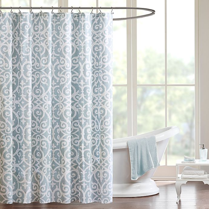 Alternate image 1 for Madison Park Pure Elena Shower Curtain in Aqua