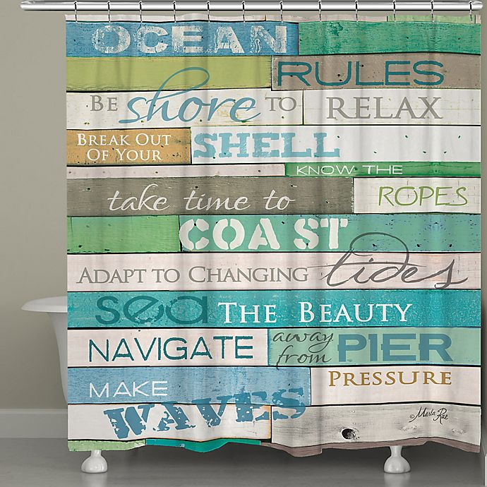 Alternate image 1 for Laural Home® Ocean Rules Shower Curtain