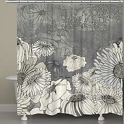 Laural Home® Flowers On Grey Shower Curtain