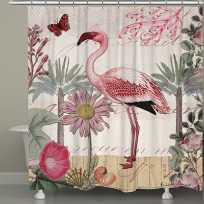 Laural HomeR Botanical Flamingo Shower Curtain