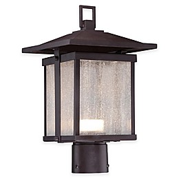 The Great Outdoors® Hillsdale 1-Light Post-Mount Outdoor LED Lantern in Bronze with Glass Shade