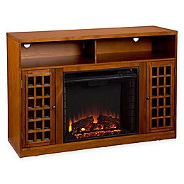 Southern Enterprises© Narita Media Stand Electric Fireplace in Glazed Pine