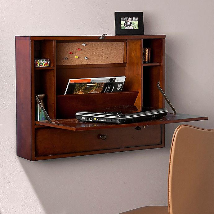 Alternate image 1 for Southern Enterprises Wall Mount Laptop Desk in Brown Mahogany