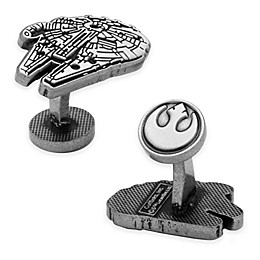 Star Wars™ Silver-Plated Millennium Falcon Etched Cufflinks