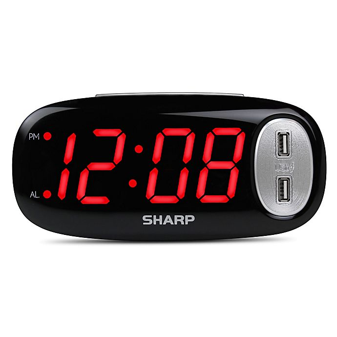 Alternate image 1 for Digital Alarm Clock with 2 USB Ports