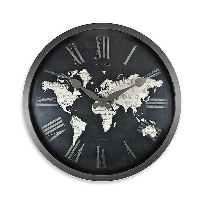 Firstime World Map Wall Clock In Black Gold Bed Bath Beyond
