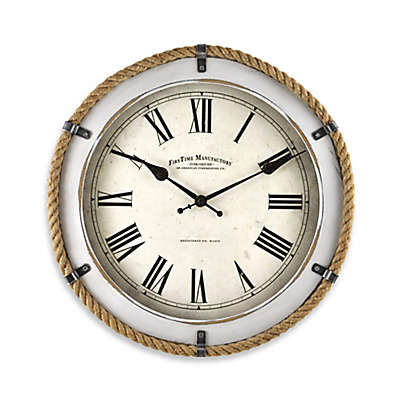 FirsTime® Whitewashed Rope Wall Clock