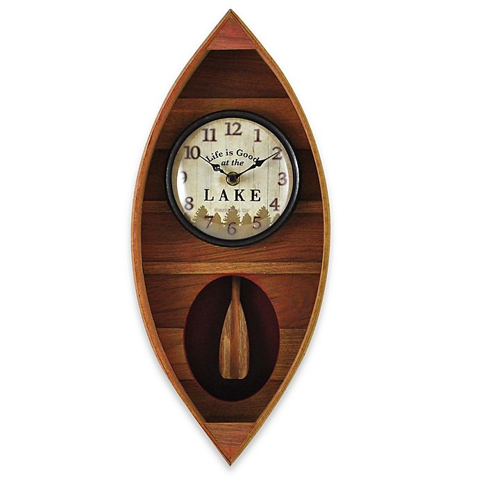 Kitchen Wall Decor Bed Bath And Beyond: FirsTime® Lake Canoe Wall Clock In Tan