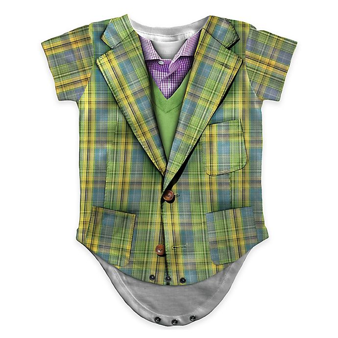 Alternate image 1 for Faux Real Photorealistic Plaid Suit Short Sleeve Bodysuit