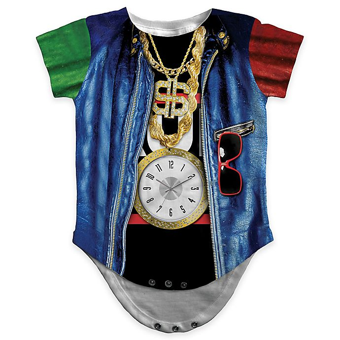 Alternate image 1 for Faux Real Size 12M Photorealistic Old School Rapper Short Sleeve Bodysuit