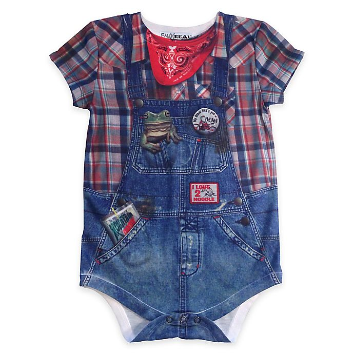 Alternate image 1 for Faux Real Size 18M Photorealistic Farmer Short Sleeve Bodysuit