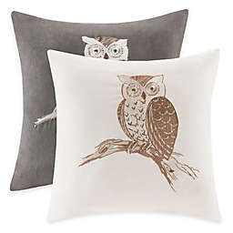 Madison Park Owl Embroidered Square Throw Pillow