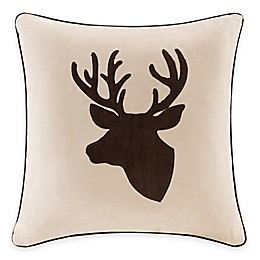 Madison Park Deer Embroidered Square Throw Pillow