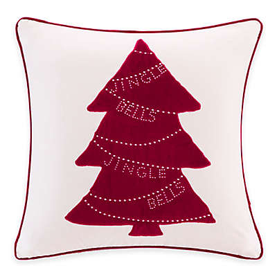 Madison Park Jingle Bells Tree Velvet Square Throw Pillow