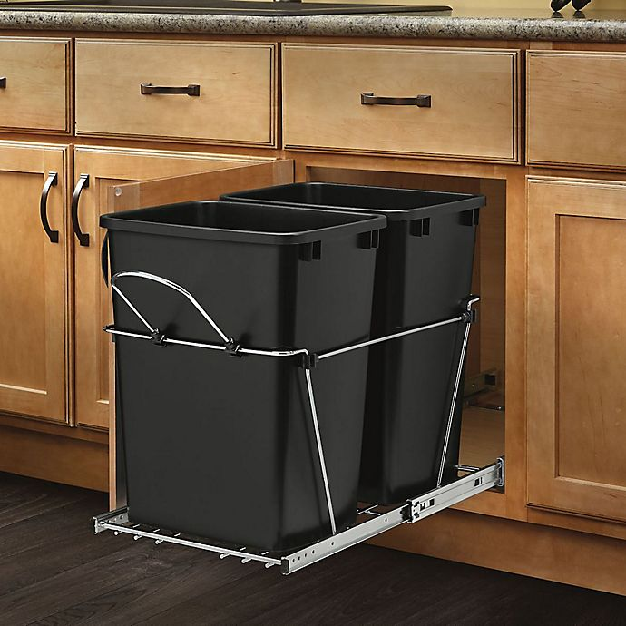 Alternate image 1 for Rev-A-Shelf - RV-18KD-18C S - Double 35 Qt. Pull-Out Black and Chrome Waste Container