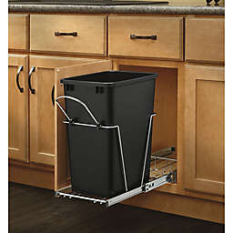 Rev-A-Shelf RV-12KD-18C S Single 35 Qt. Pull-Out Black and Chrome Waste Container w/Rear Basket