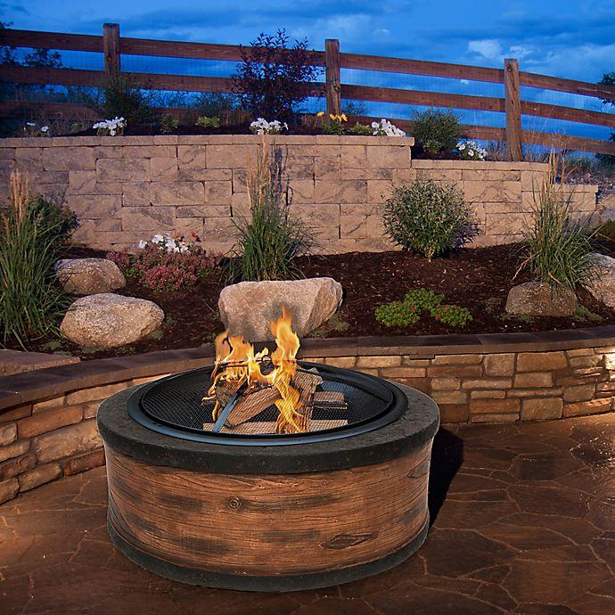 Alternate image 1 for Sun Joe® Fire Joe 35-Inch Cast Stone Fire Pit in Rustic Wood