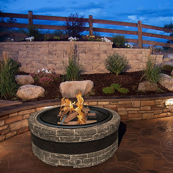 Alternate image 1 for Sun Joe® Fire Joe 35-Inch Cast Stone Fire Pit in Charcoal Grey