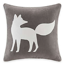 Madison Park Fox Embroidered Square Throw Pillow