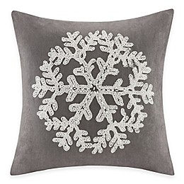 Madison Park Snowflake Embroidered Square Throw Pillow
