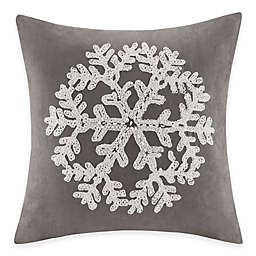 Madison Park Snowflake Embroidered Square Throw Pillow in Grey