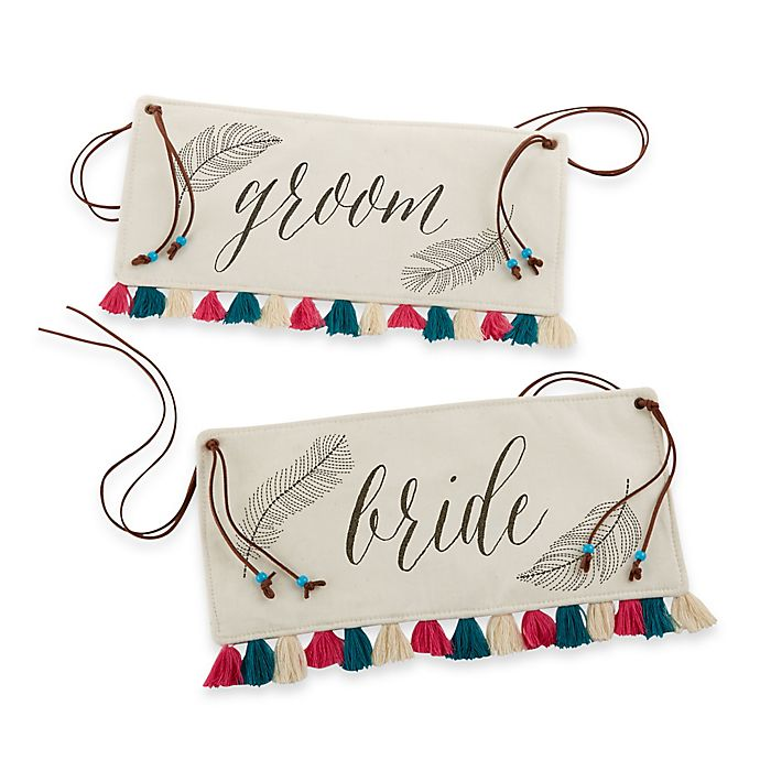Alternate image 1 for Kate Aspen® Feathers and Tassels Bride and Groom Chair Signs