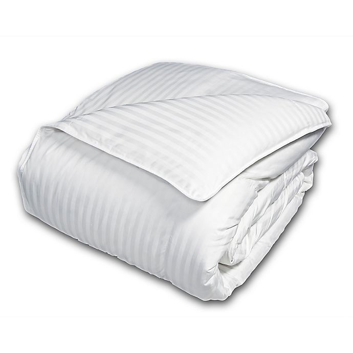 Alternate image 1 for Damask Stripe 600 Thread Count European White Down Comforter