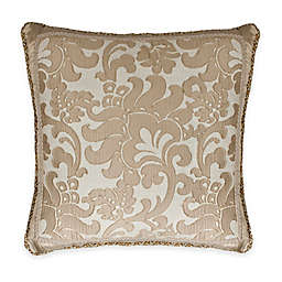Austin Horn Classics Casablanca Floral Fringed Square Throw Pillow in Gold/Cream
