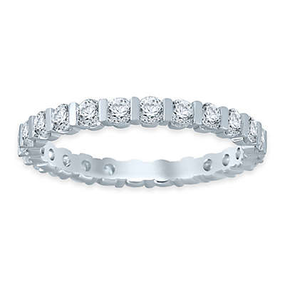 14K White Gold Diamond Ladies' Bar Wedding Band