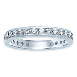 14K White Gold Diamond Channel-Set Eternity Band