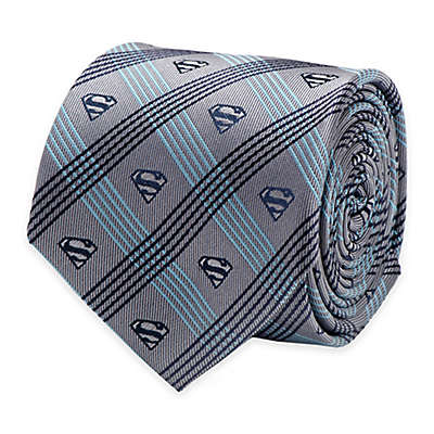 DC Comics™ Superman Logo Plaid Tie in Grey/Navy