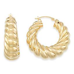 14K Yellow Gold Graduated Twist Hoop Earrings