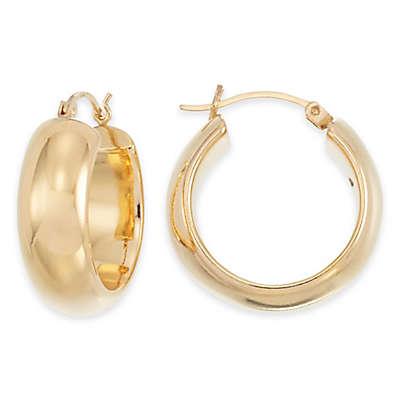 14K Yellow Gold Large Band Hoop Earrings