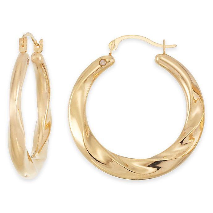 Alternate image 1 for 14K Yellow Gold Wide Swirl Hoop Earrings