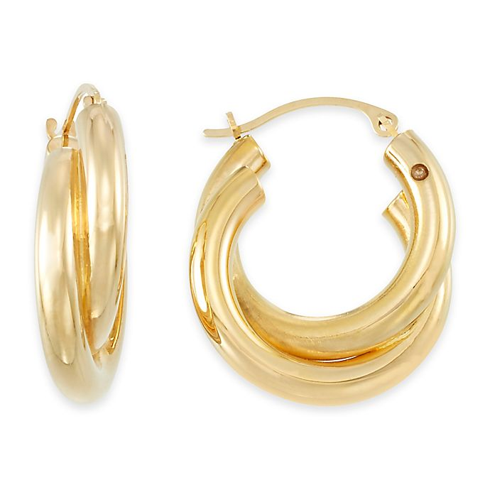 Alternate image 1 for 14K Yellow Gold Petite Double Twist Hoop Earrings